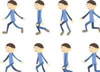 Animated person walking